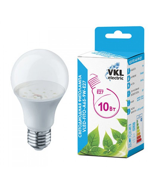 Фитолампа светодиодная для растений (рассады и цветения) VKL-FITO-A65-10W-E27