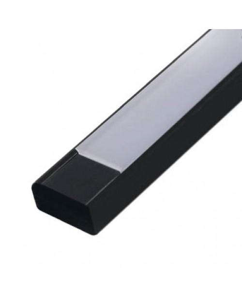 Профиль алюминиевый 1506 ANOD черный с экраном 2 м