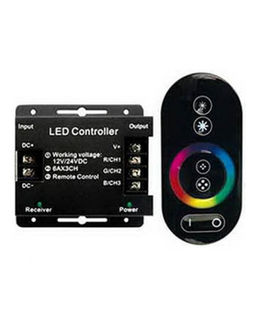 Контроллер 12V 216W (24V 432W) 18A RGB с черным радиопультом