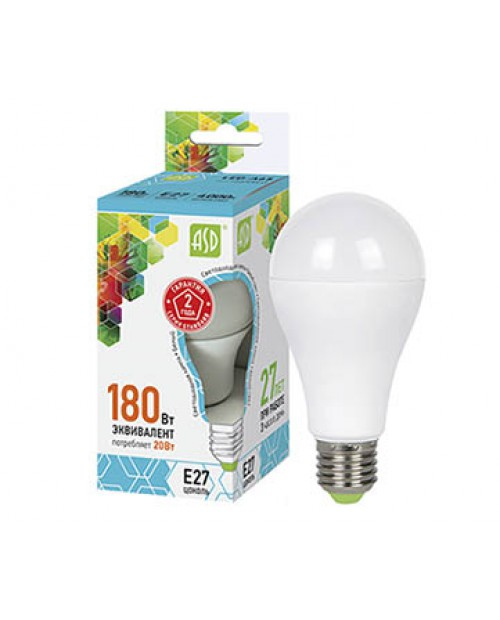 Лампа светодиодная LED-A60-standard E27 20W ASD 4000K 4K белая